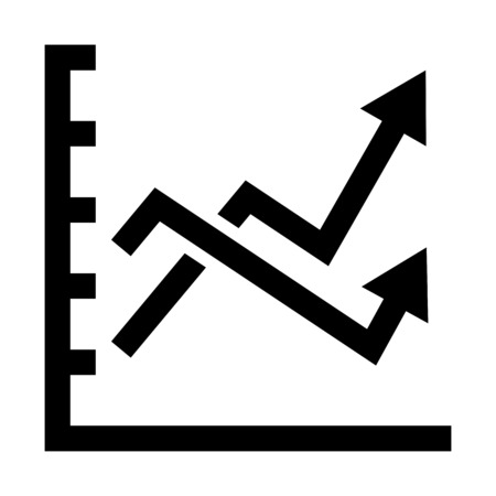 variable market chart illustration on plain background.