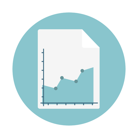 A sales report isolated on blue circular background,