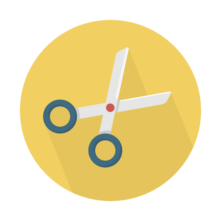 scissor in yellow circle background Illustration