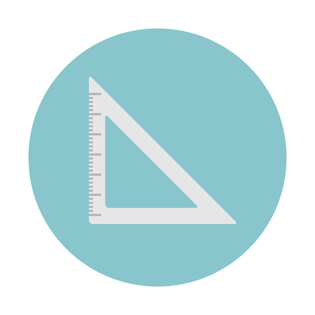 A set square geometry isolated on blue circular background,
