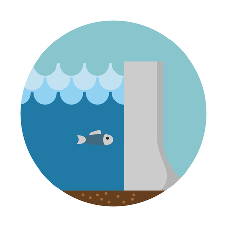Hydropower dam, clean energy  イラスト・ベクター素材