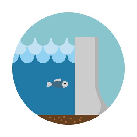 Hydropower dam, clean energy Vettoriali