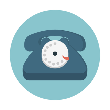Rotary dial phone icon Illustration