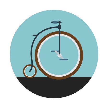 빈티지 복고풍 자전거 파란색 원형 배경에 고립.