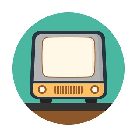 빈티지 파란색 원형 배경에 고립 된 tv.