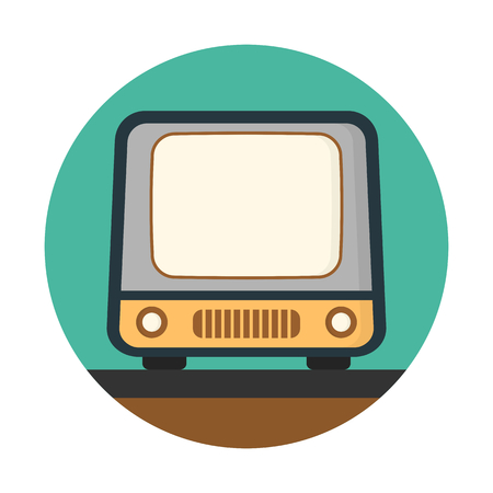 A vintage tv isolated on blue circular background.