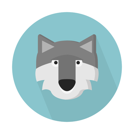 Wolf, wild animal isolated on blue circular background.