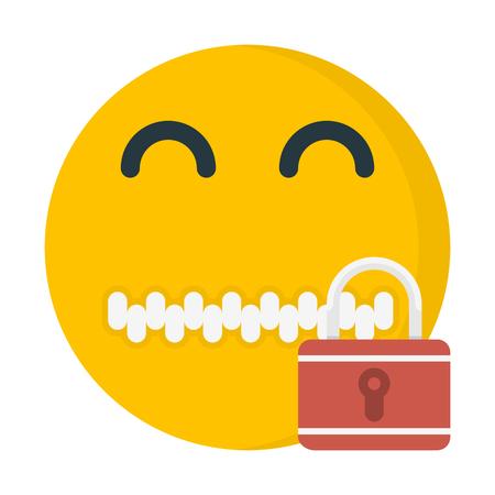 A zipper mouth emoji on colorful presentation.