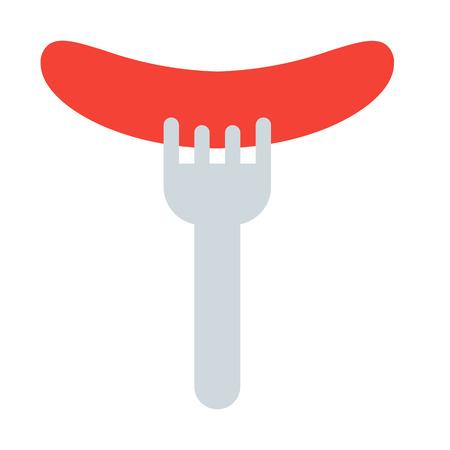 Sausage with Fork Ilustração