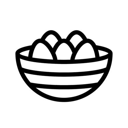 paschal eggs in basket Illustration