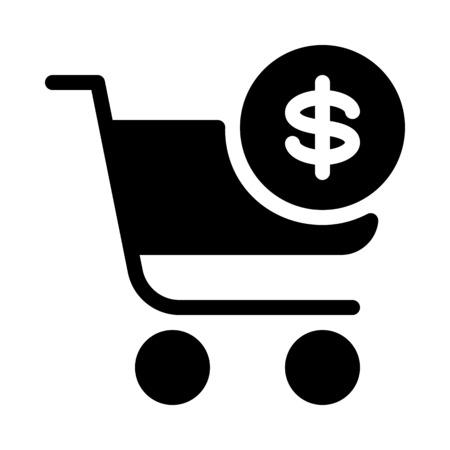Dollar sign shopping cart Stock Illustratie