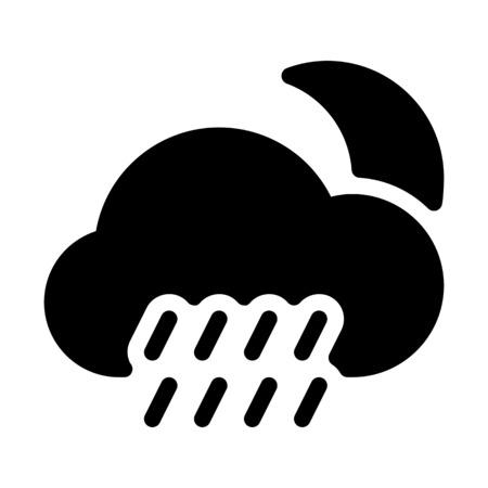 Night-time raining weather Çizim