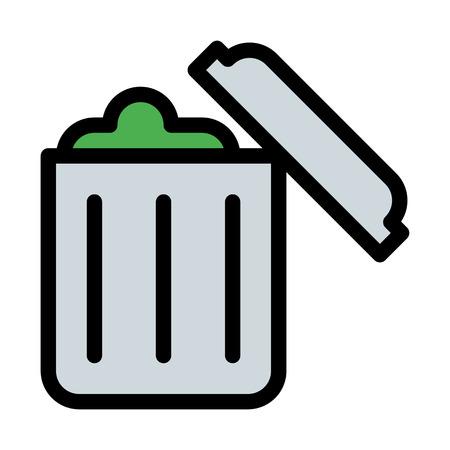 Trash Can Full Illustration