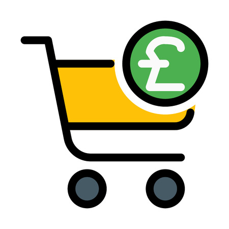 Shopping cart with pound symbol Vector Illustration