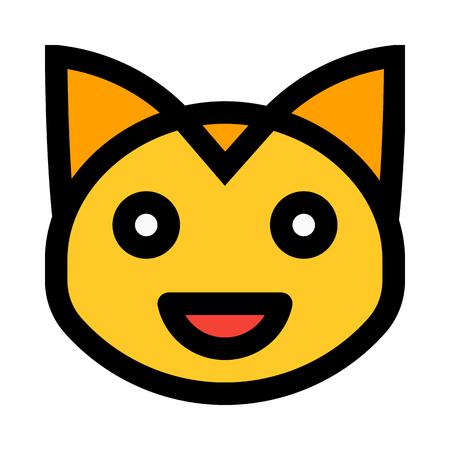 grinning cat emoticon  イラスト・ベクター素材