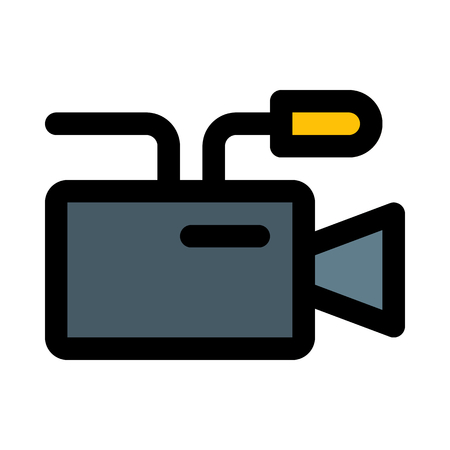 professional video camera on isolated background