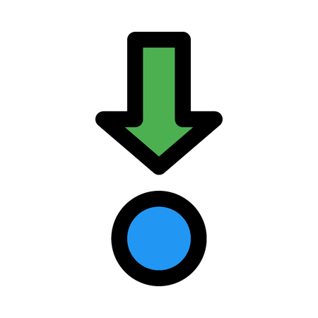 down arrow with dot Illustration