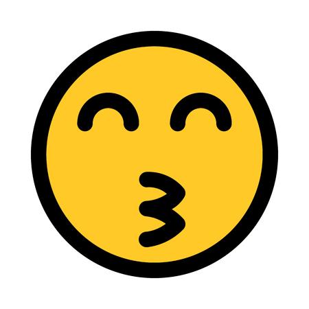 kissing emoji with smiling eyes  イラスト・ベクター素材