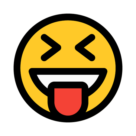 happy emoji with tongue stuck out  イラスト・ベクター素材