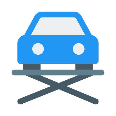 hydraulic car lift icon on isolated background
