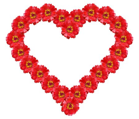 Stylized heart from red flowers Stock Photo