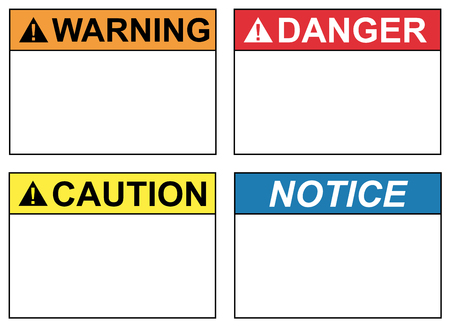Safety labels for prevention of accidents Ilustrace