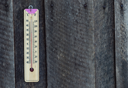 celcius: Wooden thermometer hang on old wood