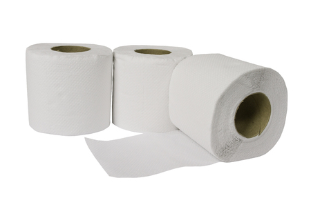 toilet papper  on white background with clipping path