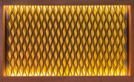 iron oxide: pattern of aluminum roll gold colour in wood frame backdrop