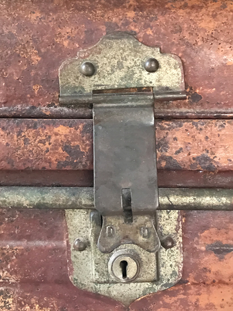 antique key lock on luggage made from brass Stock fotó