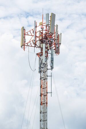 high pole and line cable telecommunication transmission for signal 5G 4G and internet in area. concept technology