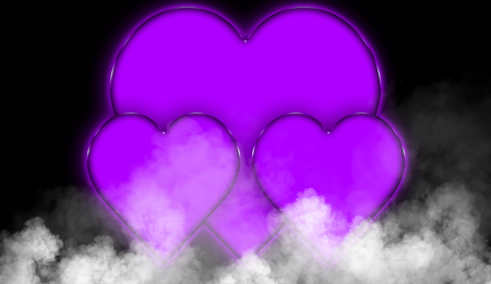 Happy valentines day colorful hearts abstract background. Smoke misty fog texture on isolated black background. Wedding party flyer or printing, cards, etc. Imagens