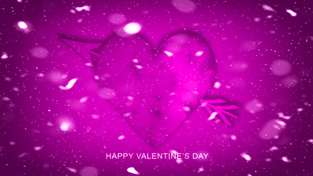 Colorful Arrow with Hearts for Happy Valentines Day. Love card. Wedding party flyer or printing, cards, etc.