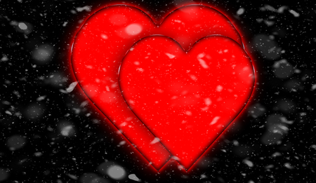 Design template. Heart for Valentines Day Background. Snow isolated on black background.