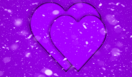 Valentines absrtasct snow background with colorful hearts .Love card. Wedding party flyer or printing, cards, etc.