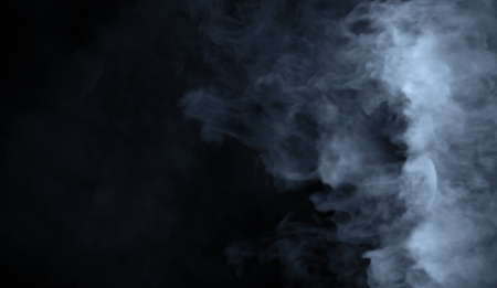 Abstract blue smoke misty fog on isolated black background. Texture overlays. Design element. Imagens