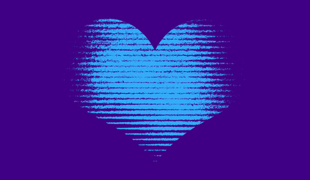 Shape of Heart halftone . Duotone background . Trendy synthwave cyberpunk gradient design.