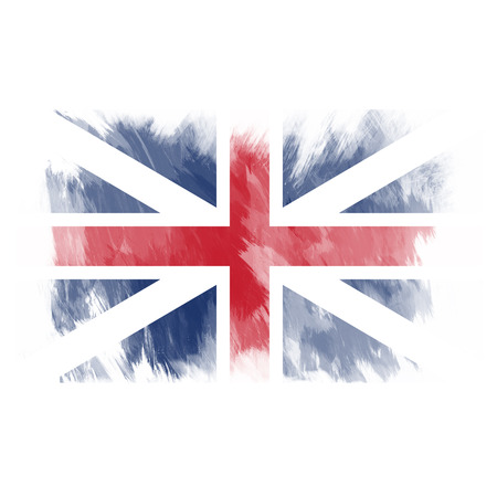 Watercolor flag of United Kingdom. Art painted Britannia national flag.