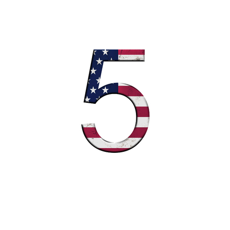 Number 5 on isolated white background . National USA flag decoration alphabet symbol.