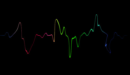 Colorful speaking sound wave lines. Isolated on black background for music, sound, science or technology .