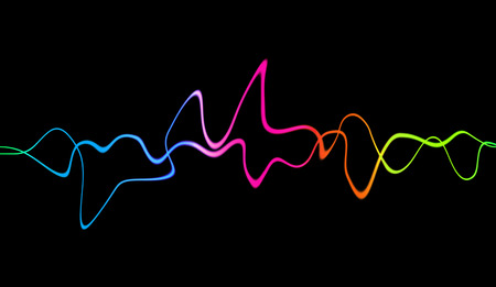 Audio digital equalizer technology, pulse musical. Abstract colorful sound waves for party, DJ, pub, clubs, disco. Banco de Imagens
