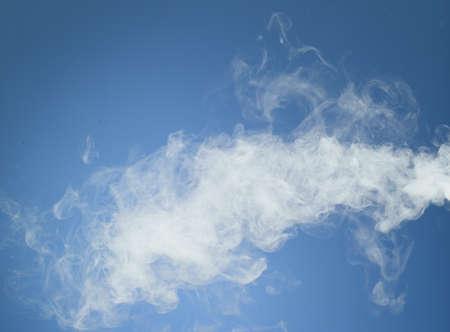 steamy: White smoke on blue background