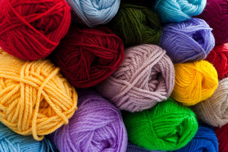 weave ball: image of colorful different thread balls Stock Photo
