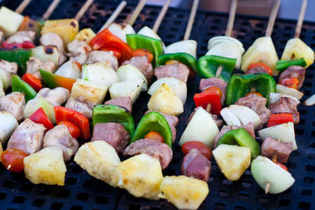 barbecue,meat on grill photo
