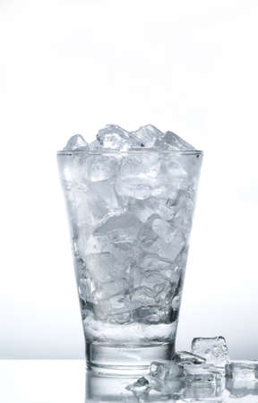 freeze: Ice cubes in the glass Stock Photo