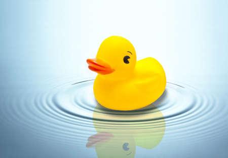 pato de hule: pato de juguete en el agua Foto de archivo