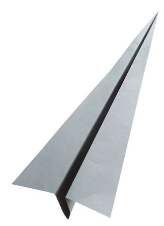 Origami gray paper airplane on white background photo