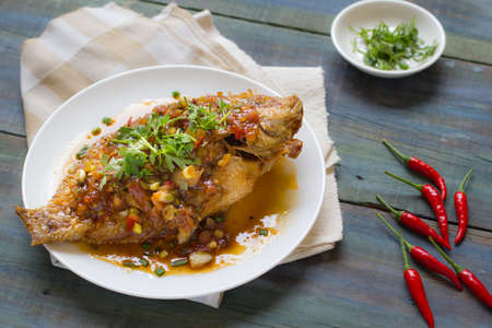 chili: Thai Food : Ingredients of  Fish fried with Chili Sweet Sauce Stock Photo