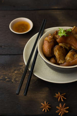 knuckles: Delicious braised pig knuckles in brown sauce