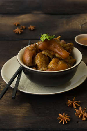 Delicious braised pig knuckles in brown sauce
